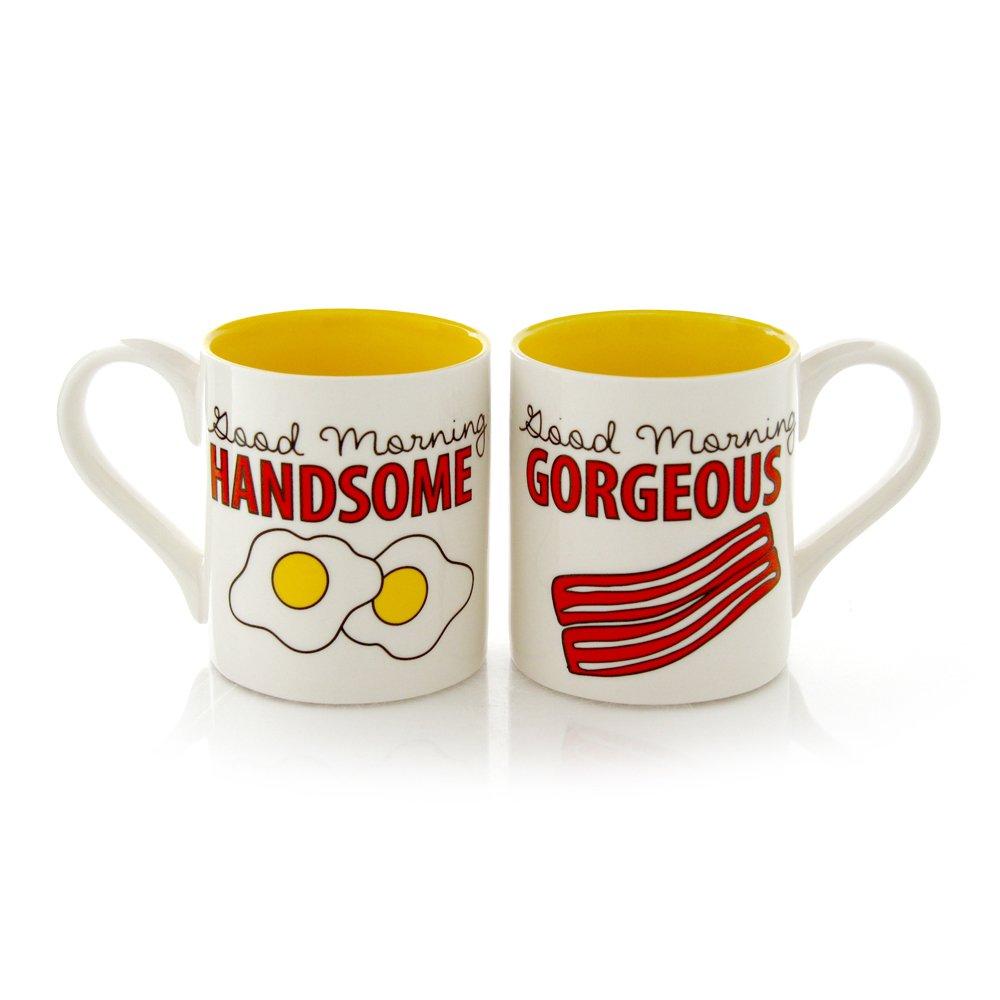 "Our Name is Mud ""Bacon and Eggs"" Stoneware Mug Set, 12 oz. each Enesco 4050754"