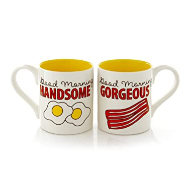 """Our Name is Mud """"Bacon and Eggs"""" Stoneware Mug Set, 12 oz. each"""