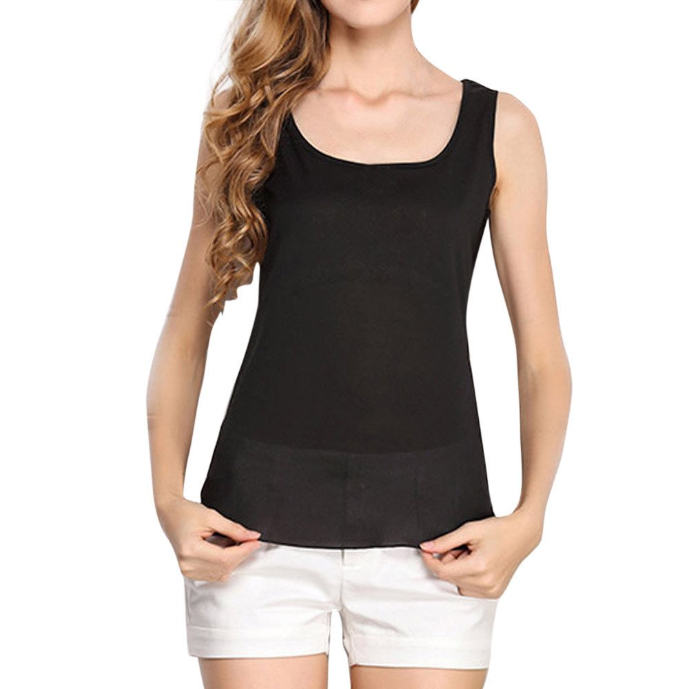 WEISUN Women Chiffon Tops O-Neck Sleeveless Pure Color Vest Chiffon Tops Summer T-Shirt Blouse Comfortable Pleated Tops Black
