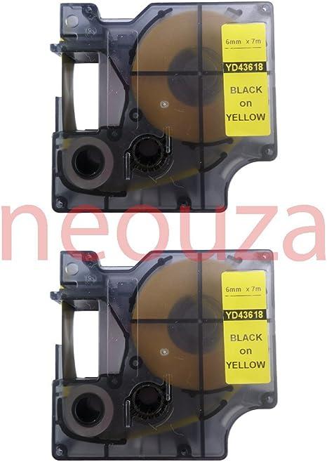 "5PK 18444 Black on White VINYL LABEL 1//2/"" for DYMO RHINO LabelManager 220P 450"