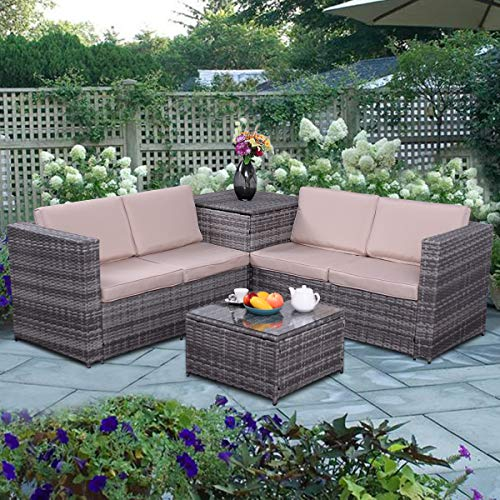 Tangkula 4PCS Patio Sofa Set Wicker Rattan Outdoor Garden Lawn Cushioned Seat with Storage Conversation Set (Mix Grey)