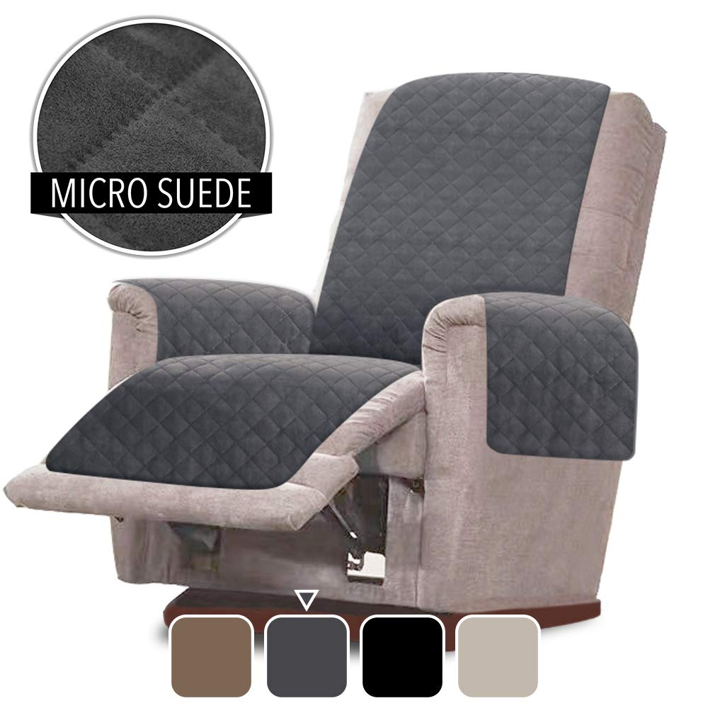 RHF Faux Suede Oversized Recliner Cover Oversized Recliner Chair Covers,Slipcovers for Recliner, Oversized Chair Covers,Pet Cover for Recliner,Machine Washable(Oversized Recliner: Dark Grey)