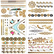Metallic Temporary Tattoos, PrettyDate 6 Sheets 75+ Designs in Gold Silver Black, Fake Glitter Jewelry Tattoos- Bracelets, Necklaces, Wrist, Anklets and Armbands(Mandala Collection)