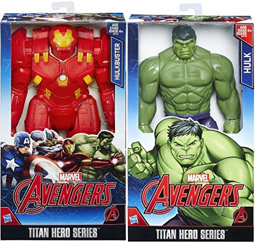 Marvel Titan Hero Series 12 inch Action Figure - Hulk + Marvel Avengers Hulkbuster Double 2-Pack Bundle