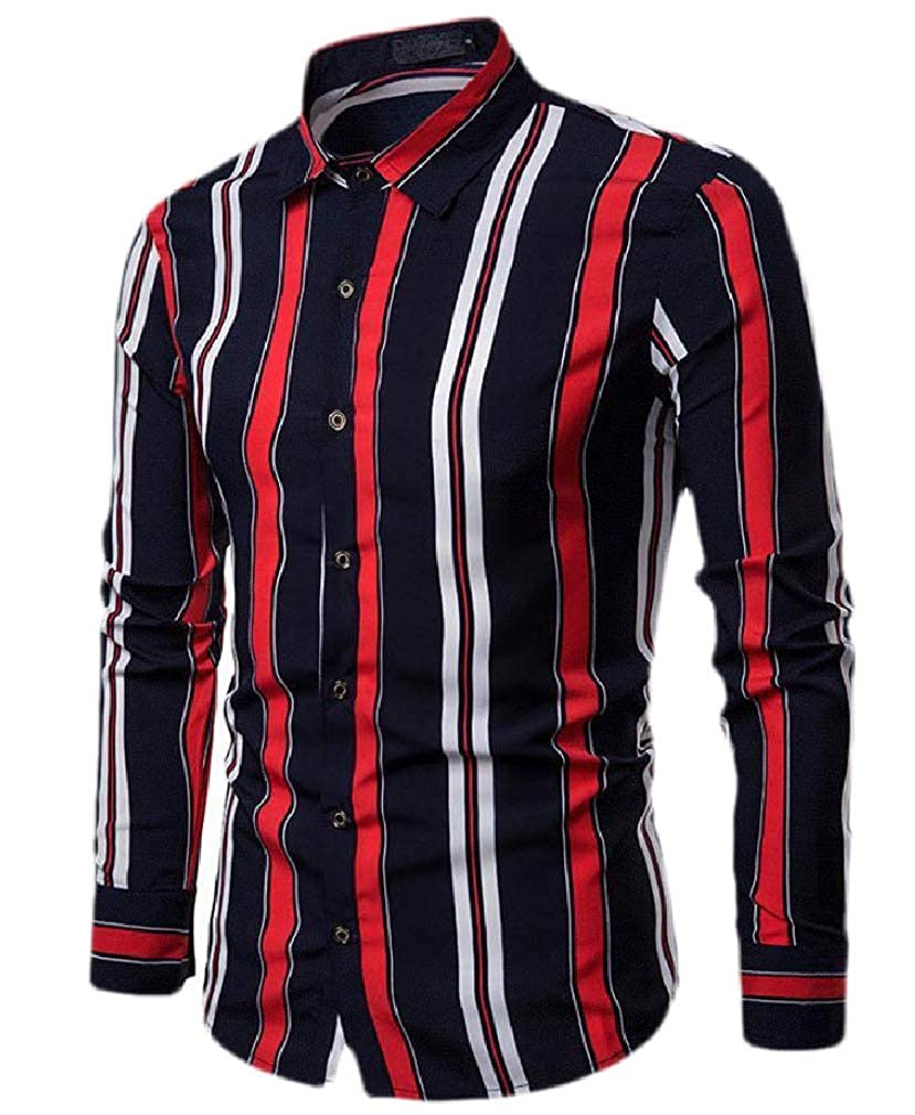 pipigo Men Long Sleeve Striped Lapel Slim Tops Button Down Shirts