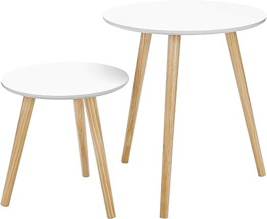 SONGMICS Mesas auxiliares nórdicas, Juego de 2 mesas de café ...