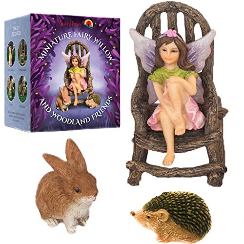 Wonky Hill Miniature Fairy Garden Starter Kit- Fairy Willow 3 Piece Accessory Garden Set