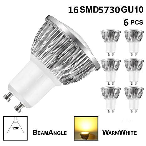 6X 6W GU10 Bombilla LED, Lámparas Halógenas Equivalentes a 50W,Blanco Cálido, 3000K