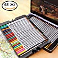 Water Color Pencils, Art Drawing Kit With A Brush Vibrant Color,for Kids Artist Writing/Field Sketch/Manga Artwork/Secret Garden Coloring Book(Not Included), Tin Case Organizer(48 Color)