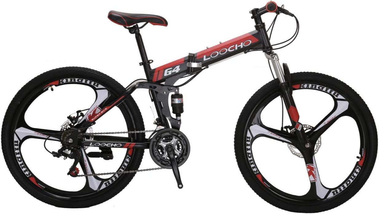 LOOCHO 21 Speed Foldable Mountain Bike 26 Inches 3-Spoke Wheel Dual Suspension Dual Disc Brake MTB Tire Bicycle