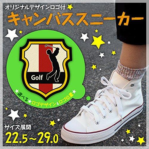 外交官鼻ホバートキャンバスシューズ スポーツワッペン付き靴【ゴルフ 盾型エンブレム】