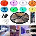 4EverShine 5 Meters LUXURY Led Strip Lighting Set 16.4 Feet 5050 RGB 150LEDs Flexible Color Changing Full Kit with 44 Keys IR Remote Controller adapter for Decorative, Kitchen, Closet and much more