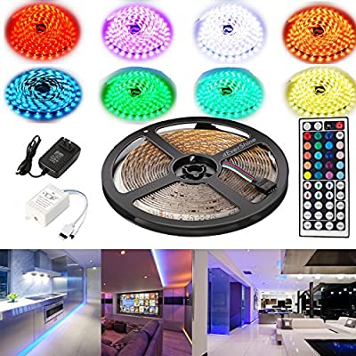 4EverShine 5 Meters LUXURY Led Strip Lighting Set 16.4 Feet 5050 RGB 150LEDs Flexible Color Changing Full Kit with 44 Keys IR Remote Controller adapter for Decorative, Kitchen, Closet and much more from 4EverShine