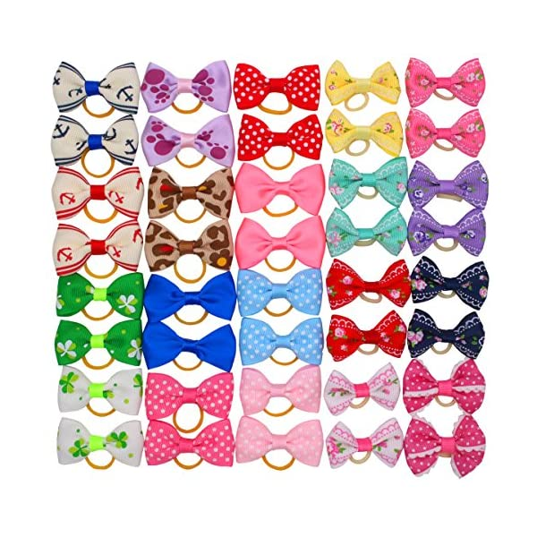 YOY 40 Pcs Adorable Grosgrain Ribbon Pet Dog Hair Bows with Elastics Ties – Stretchy Rubber Bands Doggy Kitty Topknot… Click on image for further info.