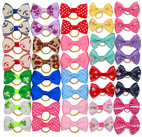 (YOY 40 Pcs Adorable Grosgrain Ribbon Pet Dog Hair Bows with Elastics Ties - Stretchy Rubber Bands Doggy Kitty Topknot Grooming Accessories Set for Long Hair Puppy)