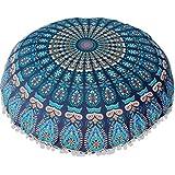 Large Mandala Floor Pillows Round Bohemian Meditation Cushion Cover Ottoman Pouf (Blue, One Size)