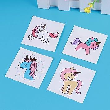 4 PCS unicornio tatuaje calcomanías temporales caricaturas lindo ...