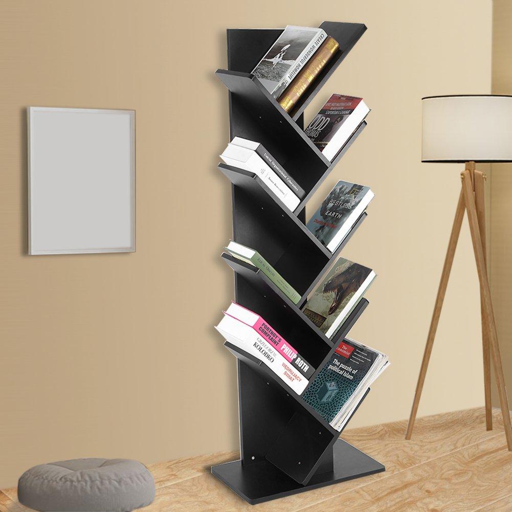 Greensen Modern 9-Shelf Tree Bookshelf, Thickened Compact Book Rack Bookcase Display Storage Furniture for CDs, Movies & Books (Black)
