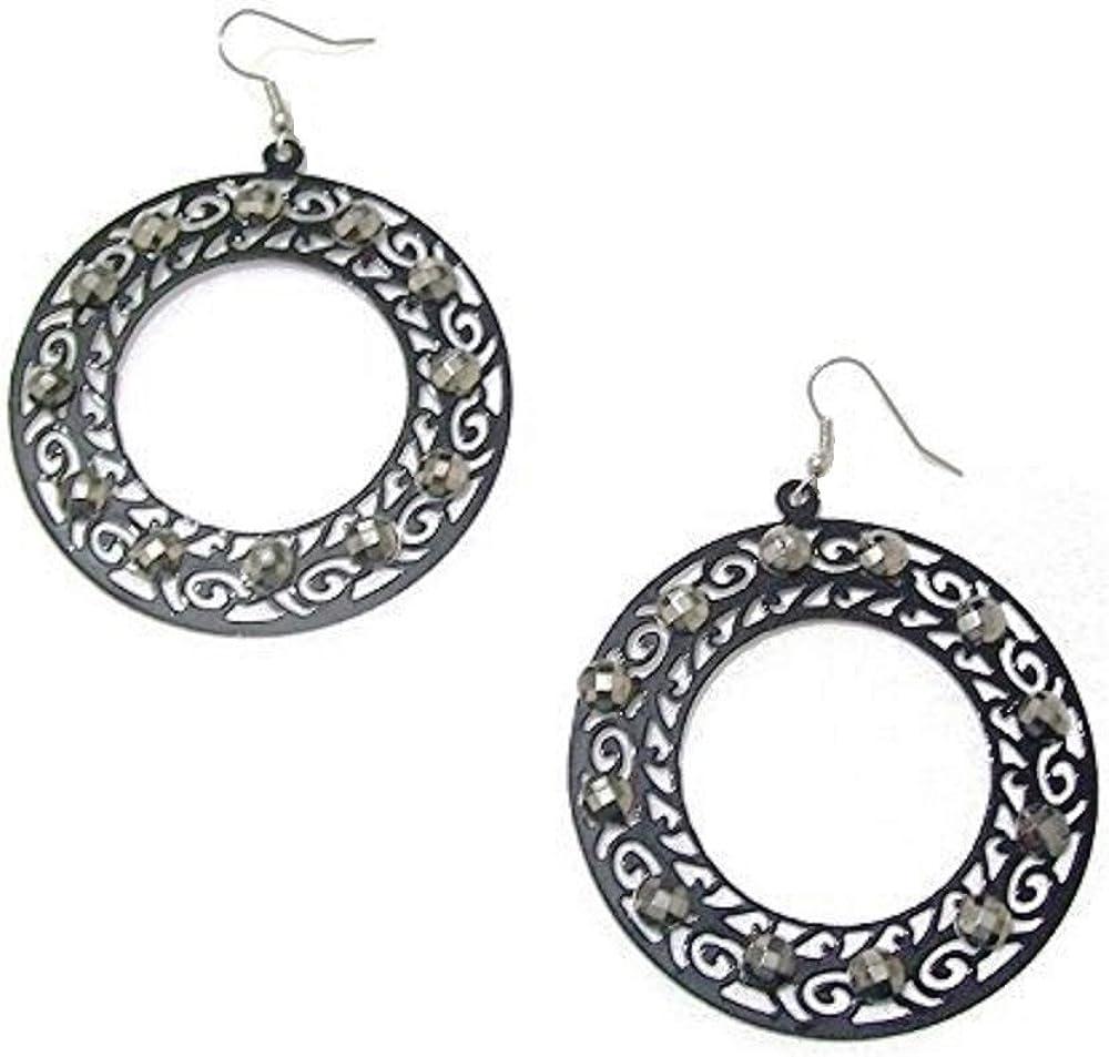 Para mujer negro de colgantes con piedras de cristal pendientes de aro de regalo de la joyería de la manera