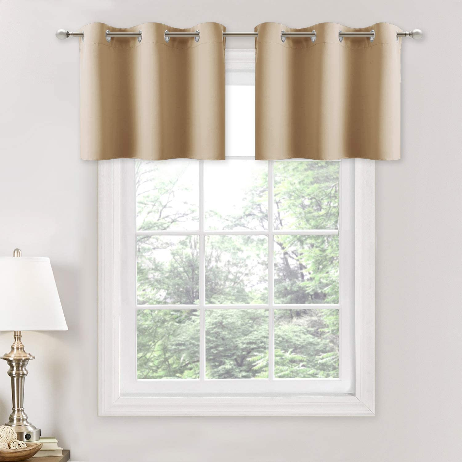 Nicetown Small Window Room Darkening Valances Functional Kitchen Curtain Thermal Insulated Window Treatment Curtains Drapes Biscotti Beige 2 Panels 42w By 18l 1 2 Inches Header Home Kitchen Amazon Com