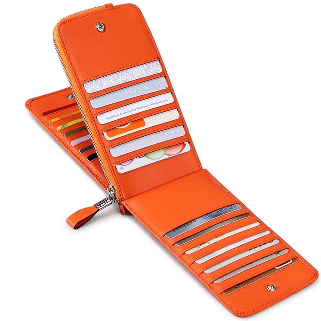 JEEBURYEE Women's Genuine Leather Multi Credit Card Holder Wallet RFID Blocking Long Bifold Clutch Wallet Ladies Purse with Zipper Pocket Orange by JEEBURYEE (Image #1)