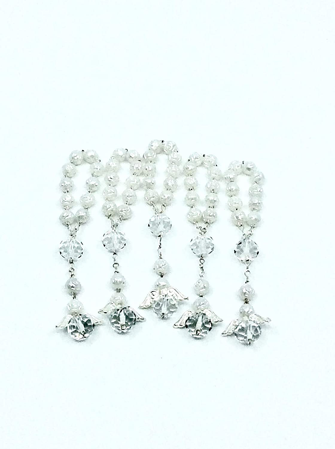 // 25 Pc White Baptism Favors with Angels Mini Rosaries Silver Plated Acrylic Beads//Recuerditos De Bautismo//Christening Favors//Decenarios//