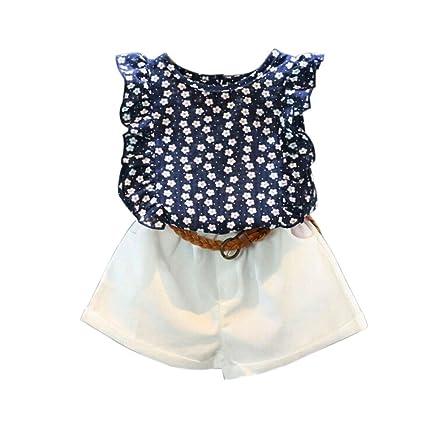 de9e254d8a2 GBSELL 3PCS Toddler Kids Baby Girls Summer Clothes Flower Tops + Shorts  Pants + Belt Set