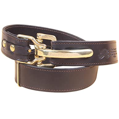 Black Leather Mens Belt Adjustable No. 5 Brass Cinch Buckle Small USA Made  Italian Bridle