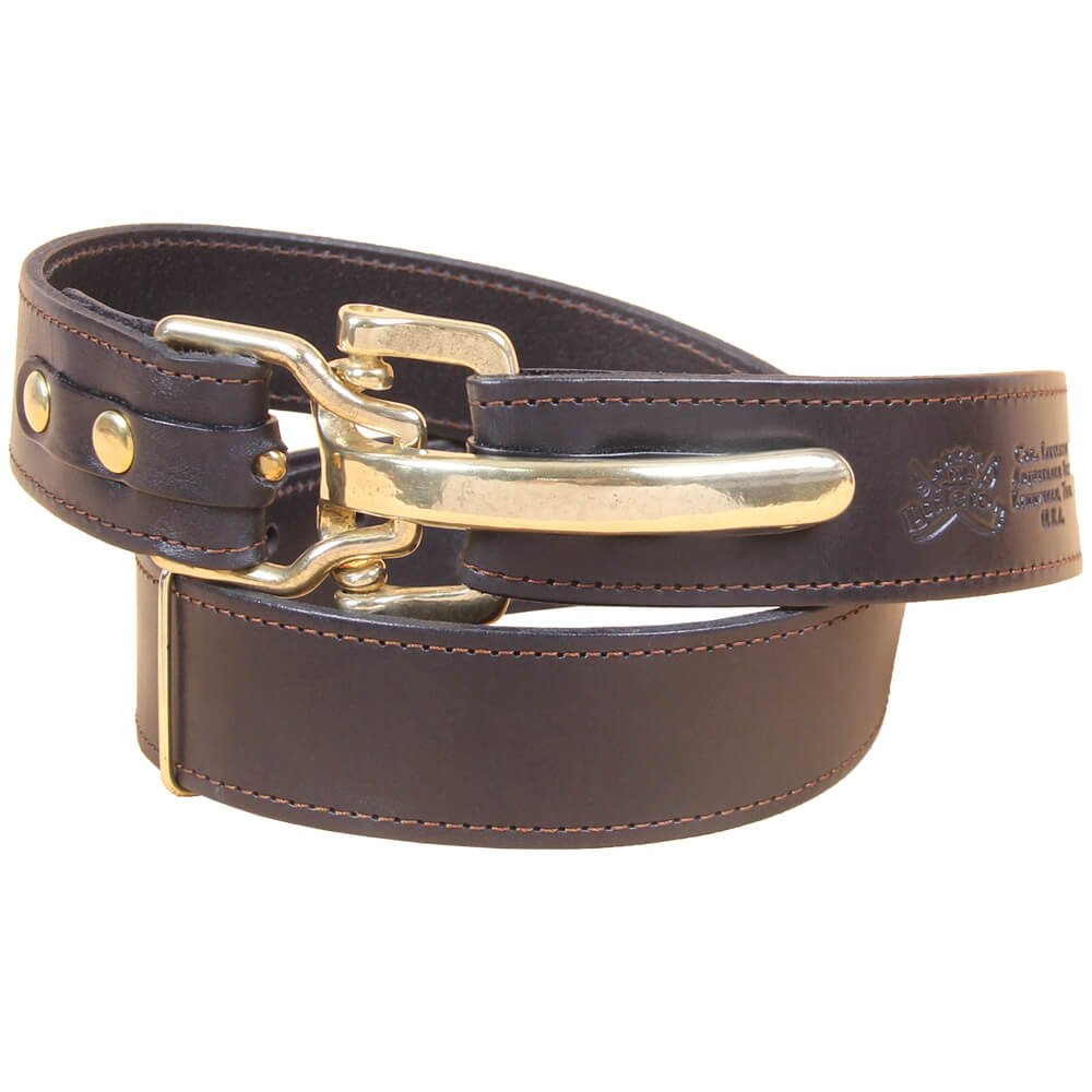 Black Leather Mens Belt Adjustable No. 5 Brass Cinch Buckle Large USA Made Italian Bridle Unique Design 1 3/8 in wide