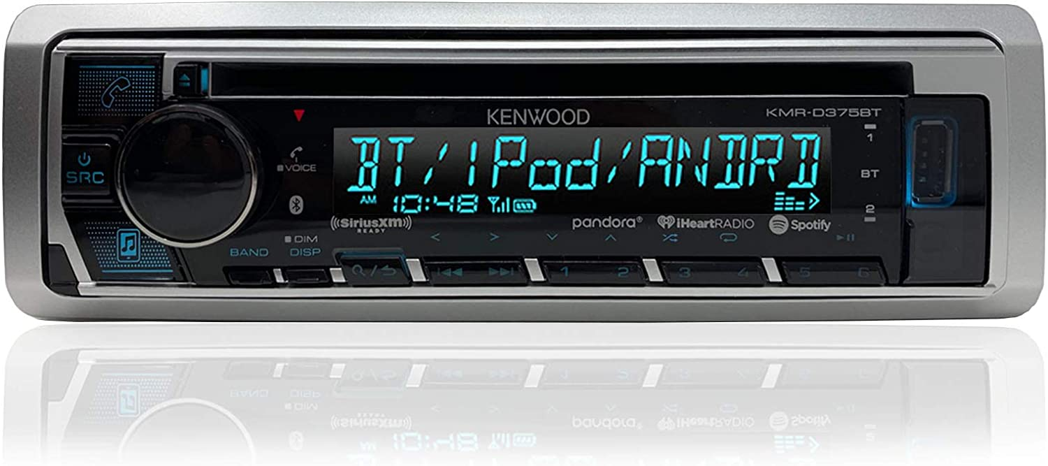 Enrock 12 Volt Amp Booster Kit Kenwood Single DIN in-Dash Marine Bluetooth Stereo USB AUX CD Player Receiver Bundle Combo with Enrock Marine Dash Kit Protector Radio Cover