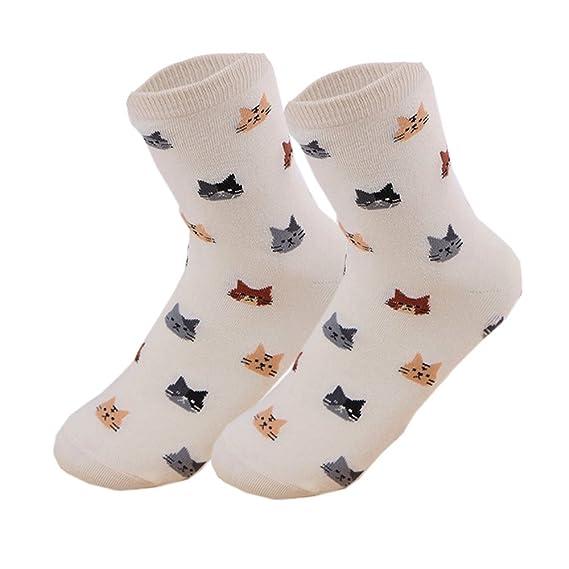 Merssavo Calcetines Lindos únicos de la Cara del Gato de las Mujeres Calcetines Lindos del Algodón