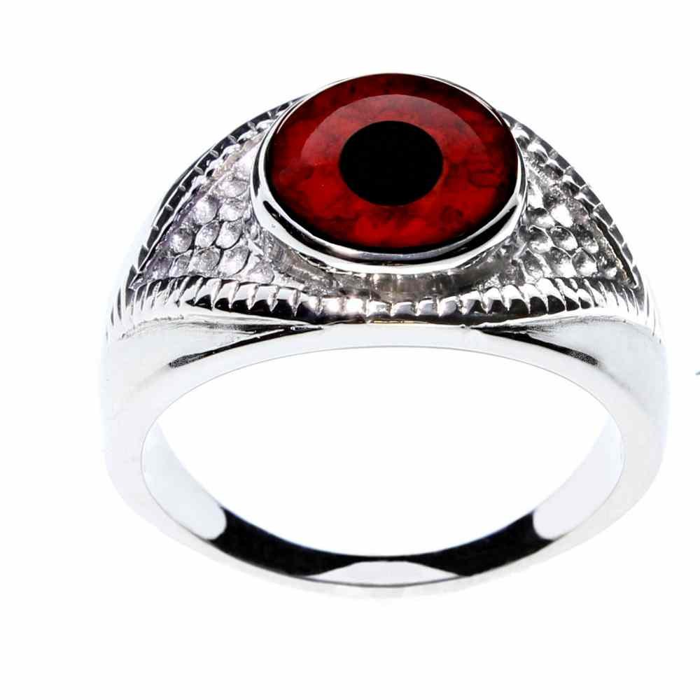 Steel Dragon Jewelry Unisex Red Vampire Glass Eye Ring in an Eye-Shaped Stainless Steel Setting (Vampire, 6)