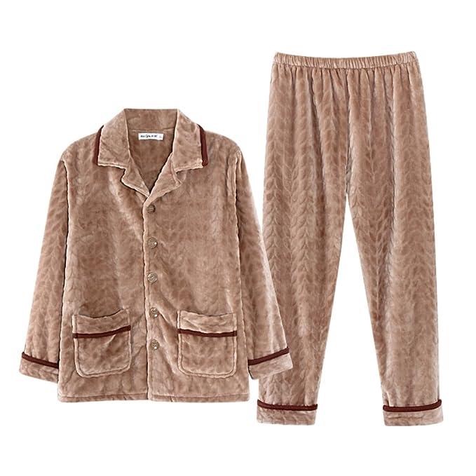Conjunto De Pijama De Franela De Los Hombres Espesar Keep Warm Dulce Plus Size Bata Ropa De Noche Casual: Amazon.es: Ropa y accesorios