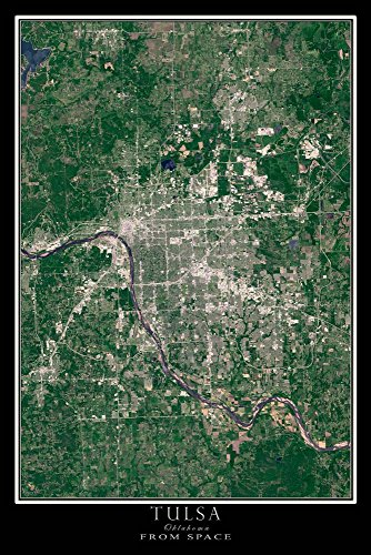 Tulsa Oklahoma Satellite Poster Map L 24 x 36