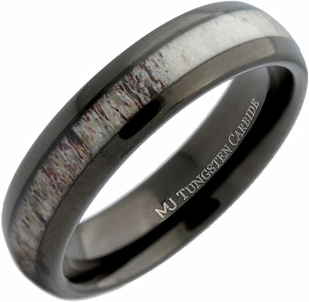 MJ Metals Jewelry 6mm Deer Antler Inlay Black Wedding Band Tungsten Carbide Ring
