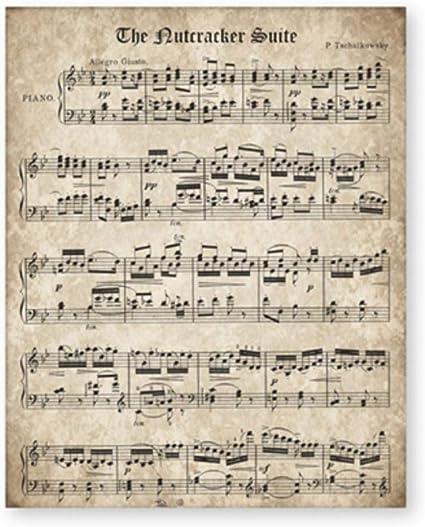 Cqzk Le Casse Noisette Vintage Partition De Musique Affiche Et Imprimer Tchaikovski Classique Piano Musique Musique Toile Peinture Mur Photo Decor A La Maison 40x60 Cm Sans Cadre Amazon Fr Cuisine Maison
