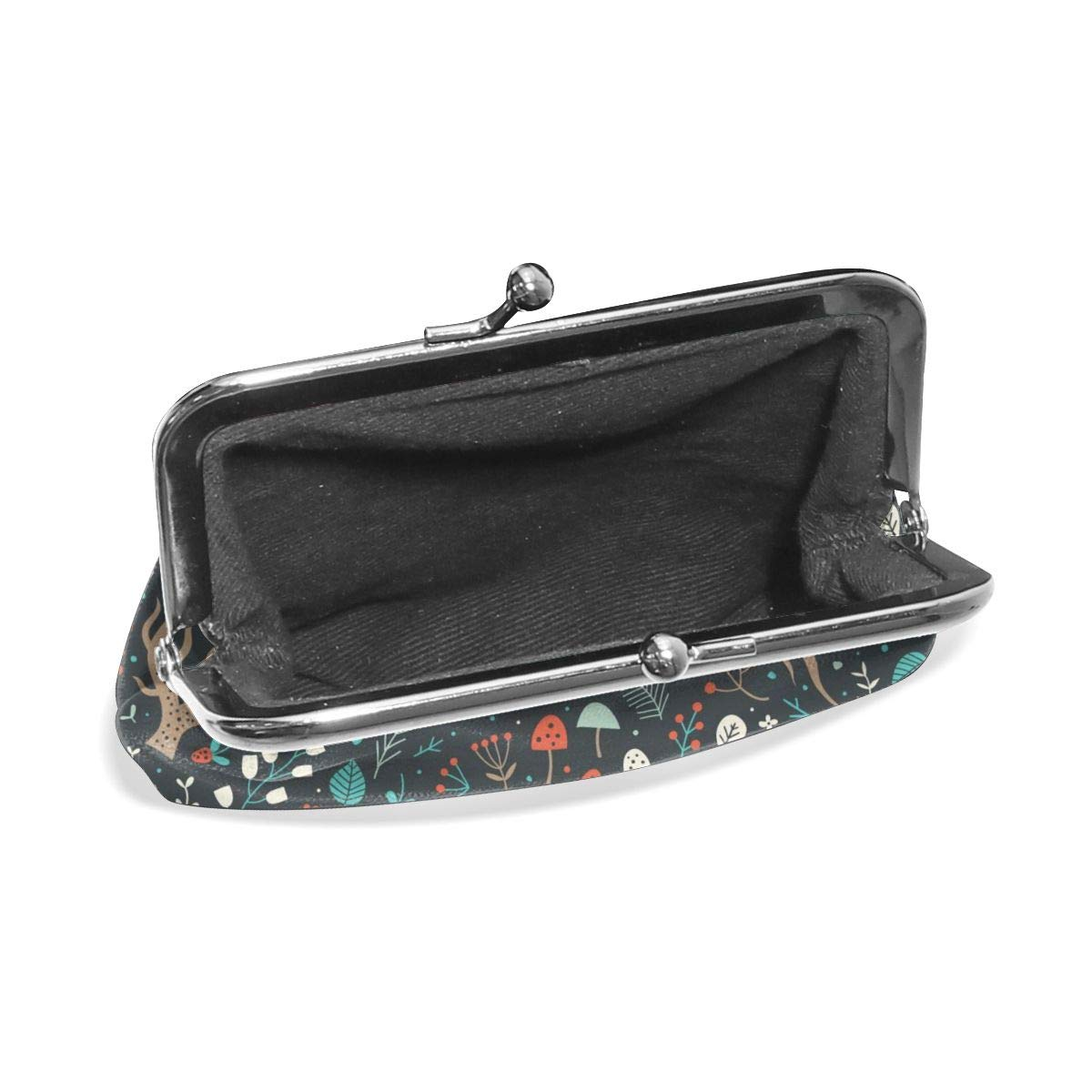 Poream Floral Surface Design Texture With Forest Herbs Roots Mushrooms And Flowers Retro Leather Cute Classic Floral Coin Purse Clutch Pouch Wallet For Girls And Womens