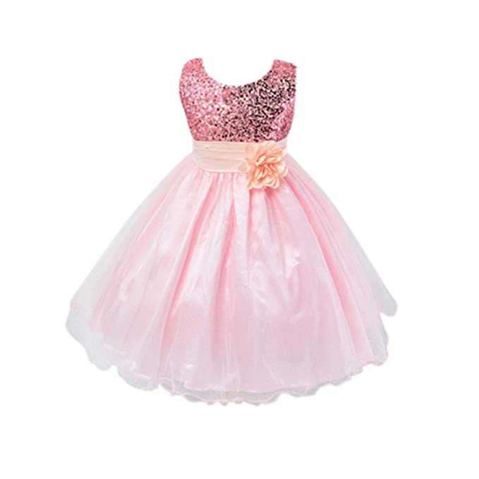 792af59a9a8a ... It Girls Bridesmaid Flower Dress Sequinned Formal Wedding Party  Christening Children Clothing Lace Dress Princess Girl Dresses Kid Baby  Clothes Sequins ...