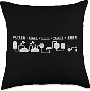 Craft Beer Brewers Shirts & Homebrew Supply Co. Beer Making Cycle Diagram For Homebrew Throw Pillow, 18x18, Multicolor
