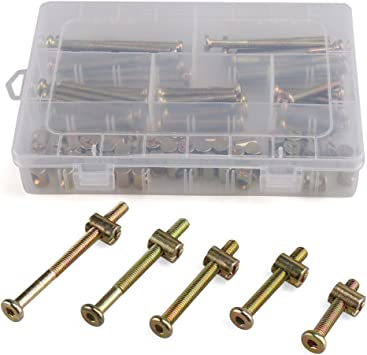 50 Pair M6 x 40//50//60//70//80mm Zinc Plated Hex Drive Socket Cap Furniture Barrel Screws Bolt Nuts Assortment Kit for Furniture Cots Beds Crib and Chairs