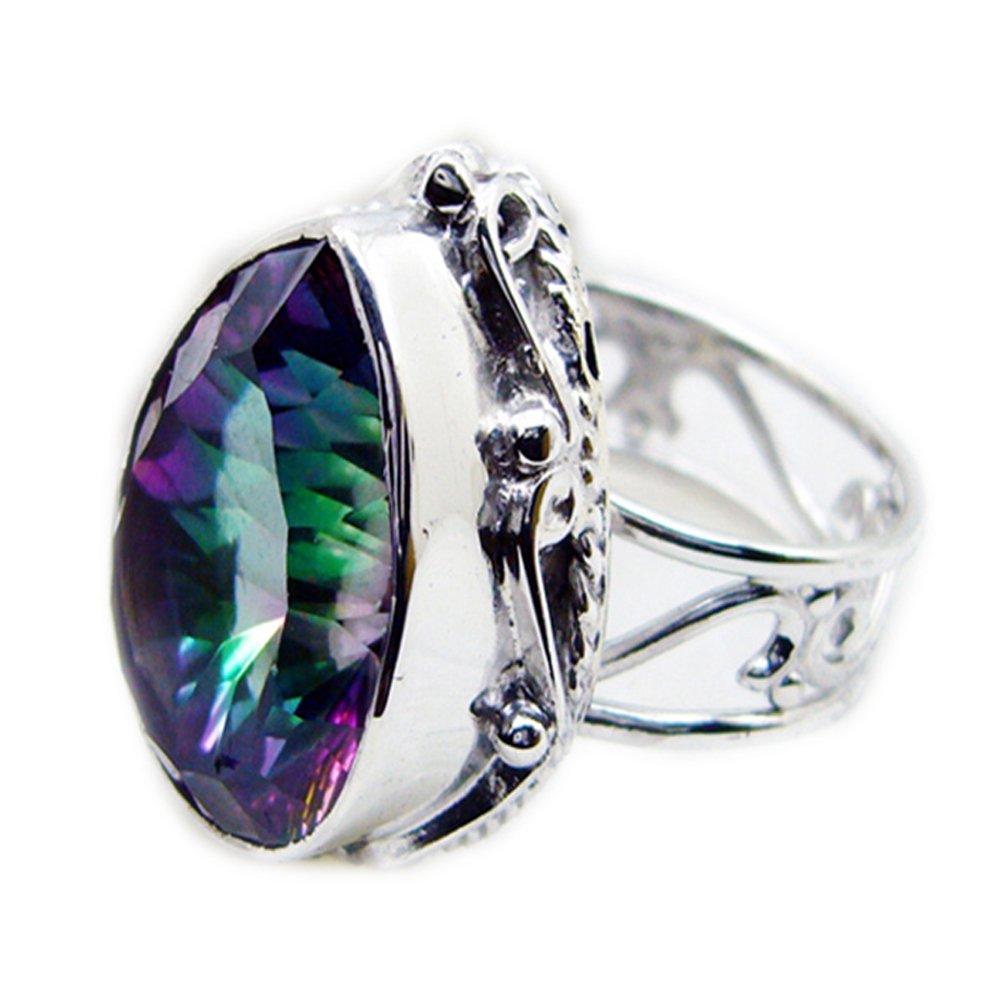 Mystic Quartz Ring 925 Silver Pear Shape Statement vintage Style Multi Color Size 5,6,7,8,9,10,11,12
