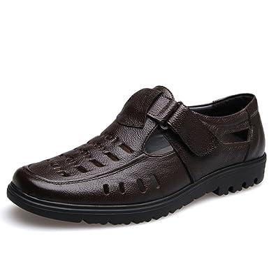 223fcfe1df4c Qianliuk Herren Sommerschuhe Echte Leder Sandalen Schuhe Sandalen