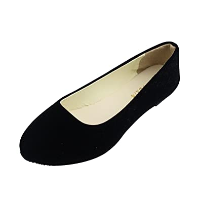 1163f9c4c MISSMAO Ladies Slip On Flat Comfort Walking Ballerina Shoes Summer Loafer  Flats,Black,EU