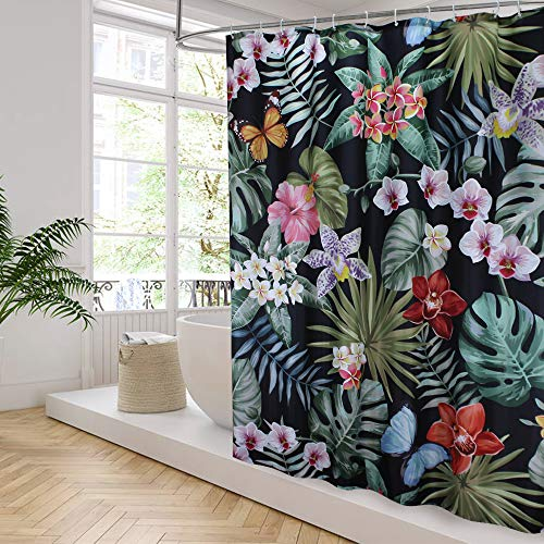 Aoohome Butterfly in Rainforest Decor Shower Curtain, Heavy Duty Polyester Bathroom Curtain with Hooks, Weighted Hem, Waterproof, 70x78 Inch, Black