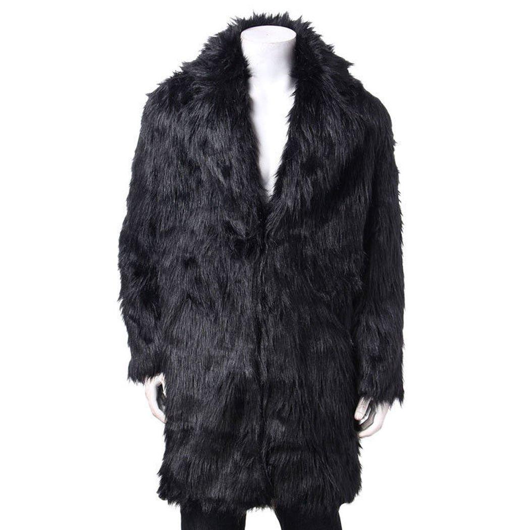 FUNOC Mens Faux Fur Coat Long Jacket Warm Overcoat Outwear Black