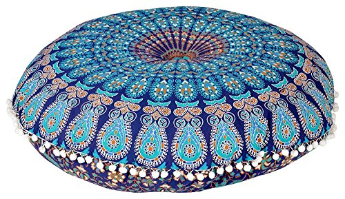 Mandala Floor Pillow covers Blue Round Bohemian Cushion Cover Ottoman Pouf Cover Hippie Decorative Cushion Cases (Blue) by Raj_Handicrafts