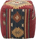 Surya Solid/Striped Square pouf/ottoman 18''x18''x18'' in Red Color From Surya Poufs Collection
