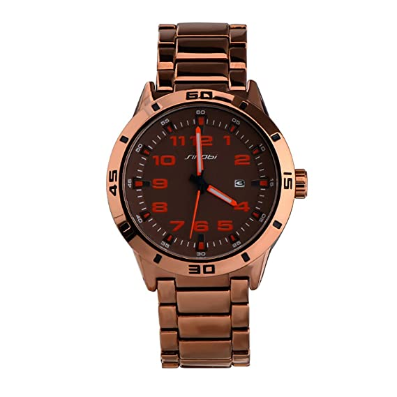 Sinobi reloj de lujo para hombre Sport Relojes militares reloj de pulsera vintage acero cuarzo relojes