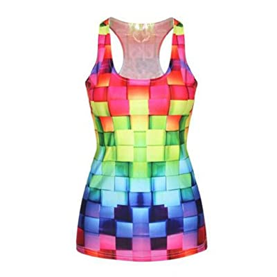 ZHANGZZ Womens T-Shirt 3D Colorful Vest Top Printed Camisole Girls Tank Tops