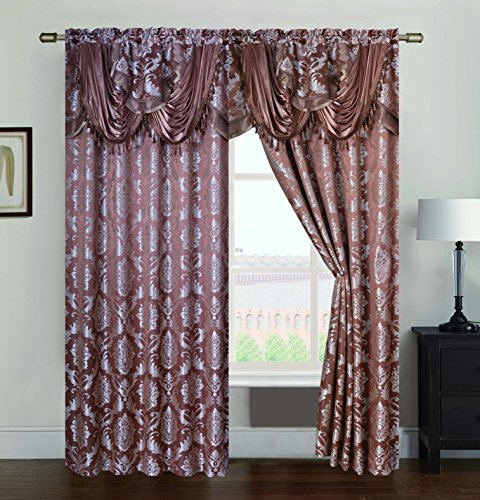 (RT Designers Collection Andover Jacquard 54 x 84 in. Rod Pocket Curtain Panel w/Attached 18 in. Valance, Ginger)